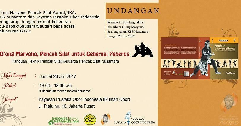 """Peluncuran Buku """"Pencak Silat untuk Generasi Penerus: Panduan Teknik Pencak Silat Keluarga Silat Nusantara"""" di Yayasan Pustaka Obor Indonesia, Jakarta, 28 Juli 2017"""