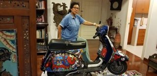 Artist Erica and the vespa